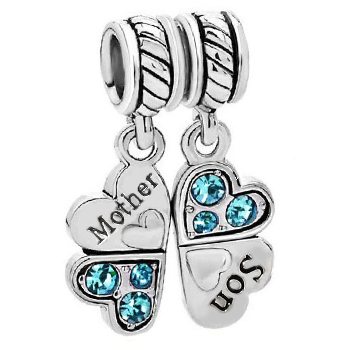 Sterling Silver Rhinestone 'Mother Son Love' Heart European Bead Charm by Queenberry (Image #1)