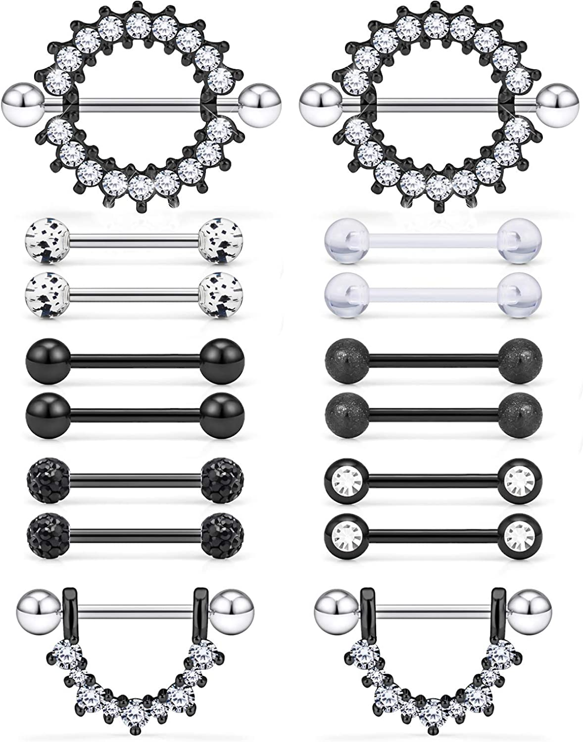 Prjndjw 14G, 9/16in(14mm) L, 8 Pairs 5mm Ball Surgical Steel Nipplerings Nipple Tongue Rings CZ Acrylic Barbell Body Piercing Jewelry