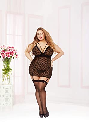 074d5d93ba0 Amazon.com: Seven 'til Midnight Plus Size Fence Mesh Strappy Detail Chemise  Lingerie: Clothing