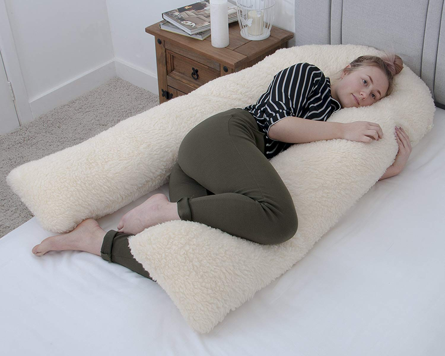 Made in UK New and IMPROVED Spiral FIBRE Filling Full Body U Shaped Pillow Pregnancy and Maternity Support for Ultimate Comfort with Cream Pillowcase