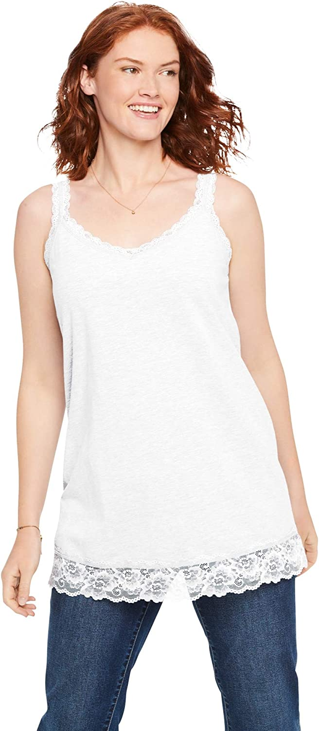 Woman Within Womens Plus Size Lace-Trim V-Neck Tank Top
