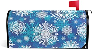 Christmas Mailbox Covers Magnetic for Home Outdoor Welcome Garden Yard Decor, Winter Holiday Snowflake Letter Post Box Cover Wraps Standard Size 21 x 18 Inch