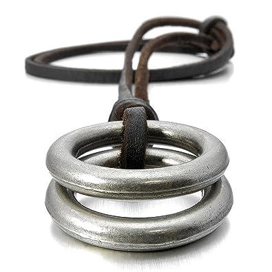 2f67f8a0859 Sungpunet - Collier en cuir véritable avec pendentif double anneau en  alliage pour homme - Argenté