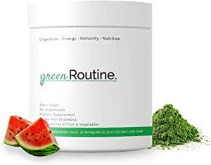Organic Greens Superfoods with Reds - Smoothie Mix, Green Powder Juice, 35+ Fruits and Vegetables, All-Natural Vegan Food, Daily Nutritional Drink Mix, Non-GMO - Routine