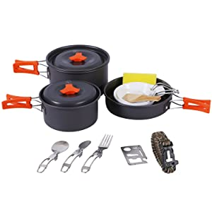 REDCAMP 9/12/18/23 PCS Camping Cookware Mess Kit with Kettle