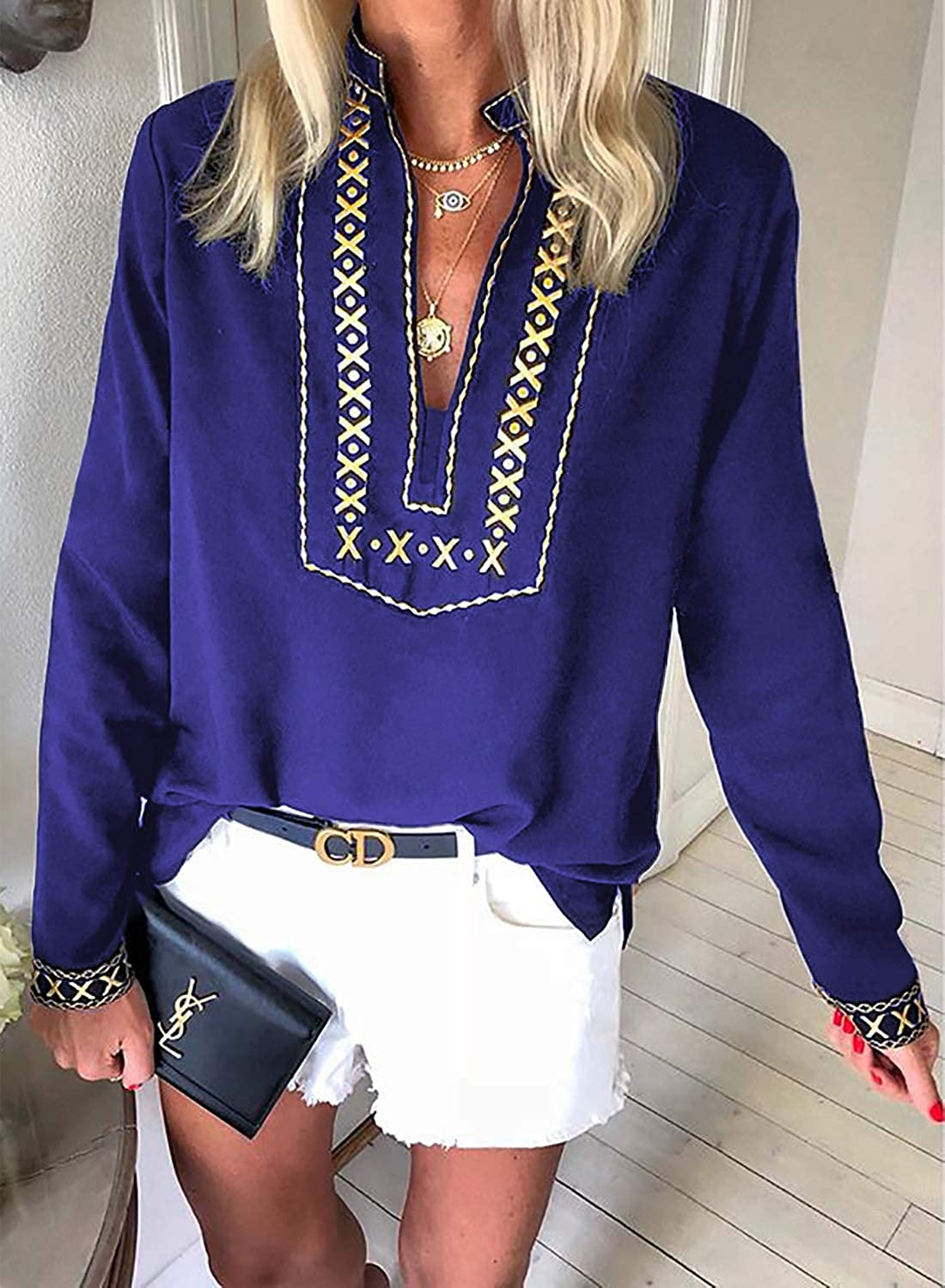 Aleumdr Womens Casual Boho Embroidered V Neck 3//4 Sleeves Shirts Loose Blouse Tops S-XXL