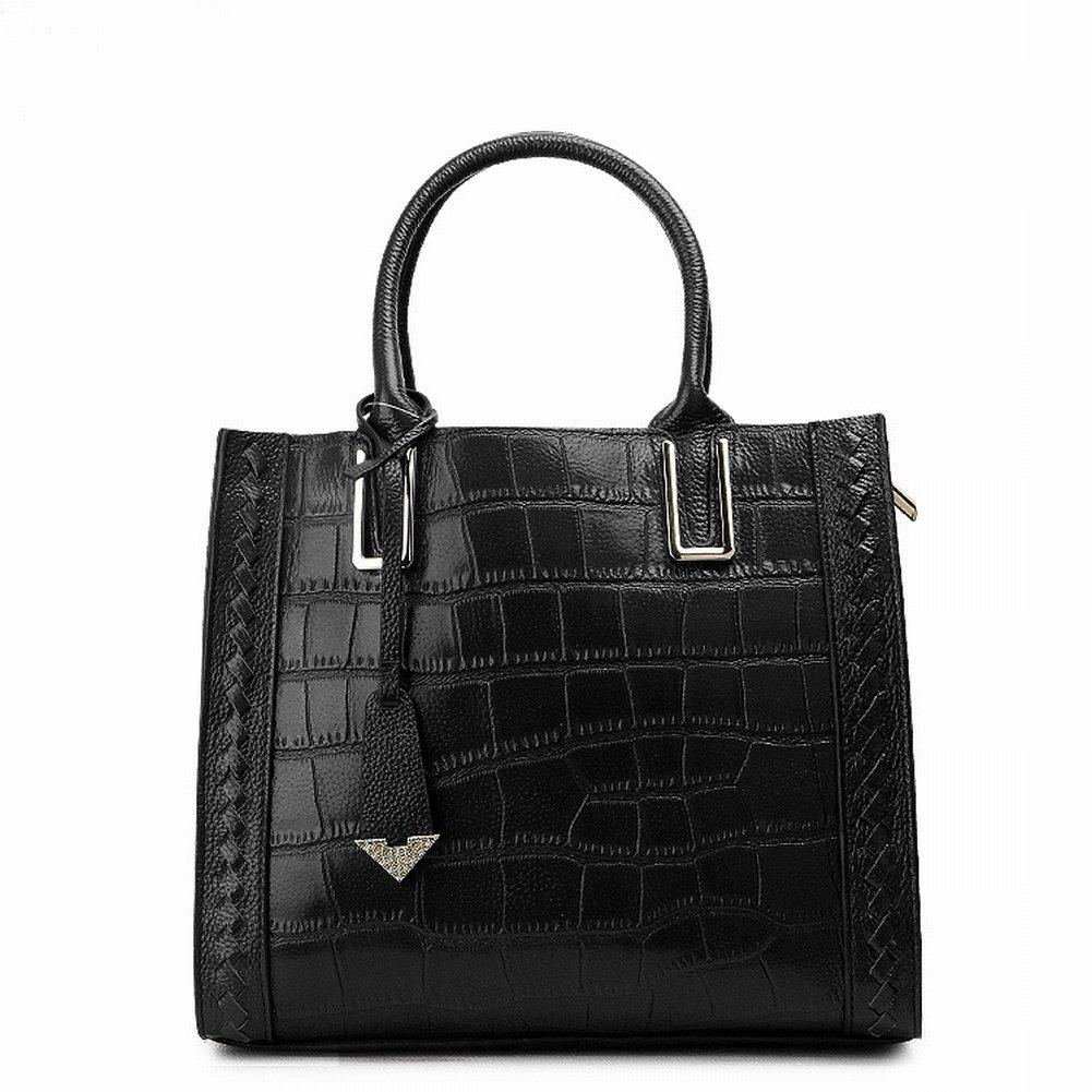 Fashion Handtaschen Krokodilmuster Leder Schulter Diagonal Handtasche Handtasche Fabrik , schwarz