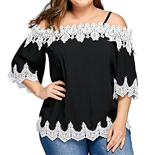 DondPO Big Promotion Large Size Women Lace Off Shoulder T-Shirt Short Sleeve Casual Tops