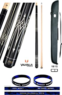 product image for Valhalla VA222 by Viking 2 Piece Pool Cue Stick White on Black 12 Point Transfers High & Low No Wrap 18-21 oz. Plus Cue Case and Bracelet (Black VA222, 18)