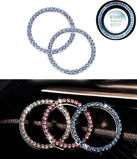 Bling Car Interior Decor Ring for Car Engine Ignition Button Key /& Knobs Unique Gift Silver 6 Pcs Car Decor Crystal Rhinestone Ring Car Bling Sticker Emblem Ring