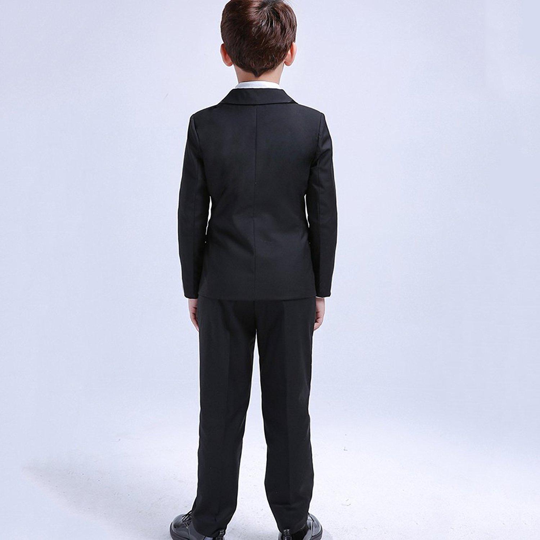 6be2dc0d2fe940 LOLANTA 5Pcs Boys Suits Formal Blazer Classic Fit Tuxedo Set Wedding Party Black  Suit: Amazon.ca: Clothing & Accessories