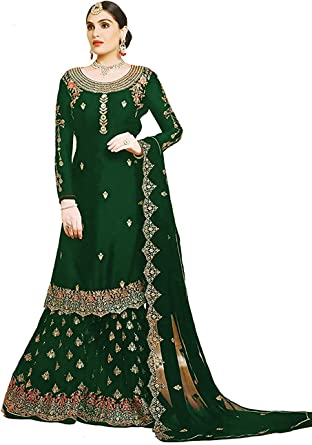 Amazon Com Stylishfashion New Indian Pakistani Eid Ramzan Special Designer Georgette Sharara Style Salwar Suit For Women Clothing