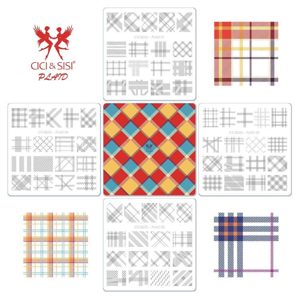 Cici et Sisi Nail Art Stamping Plaques Modèle de plaque de Plaid kit de manucure 4pièces CICI&SISI
