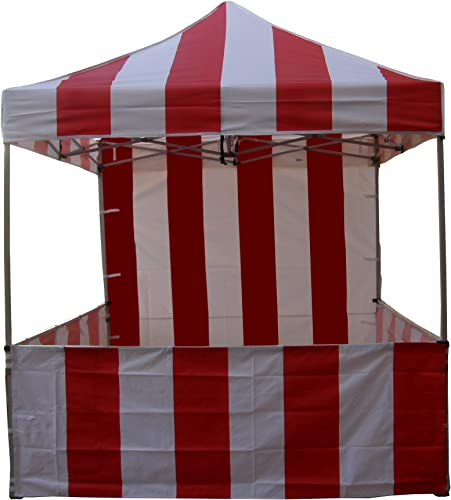 Impact Canopy 8 x 8 Pop-Up Canopy Tent, Carnival Tent Kit with Powder-Coated Steel Frame, Sidewall, and Half Walls, Red White Stripe