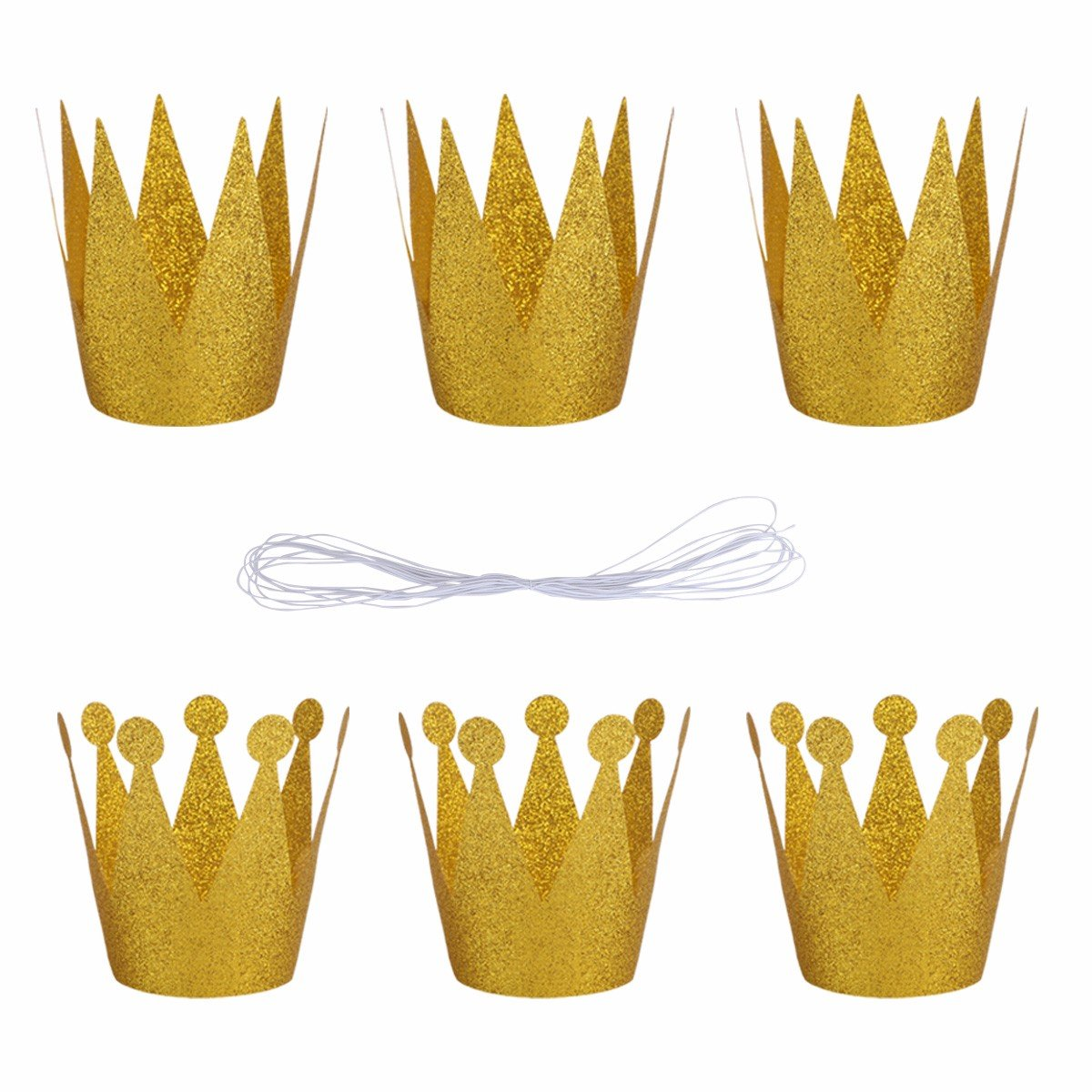 FEESHOW 6PCS Birthday Party Prince Princess Shiny Crown Hats Party Decorations Supplies for Adults Kids Gold OneSize