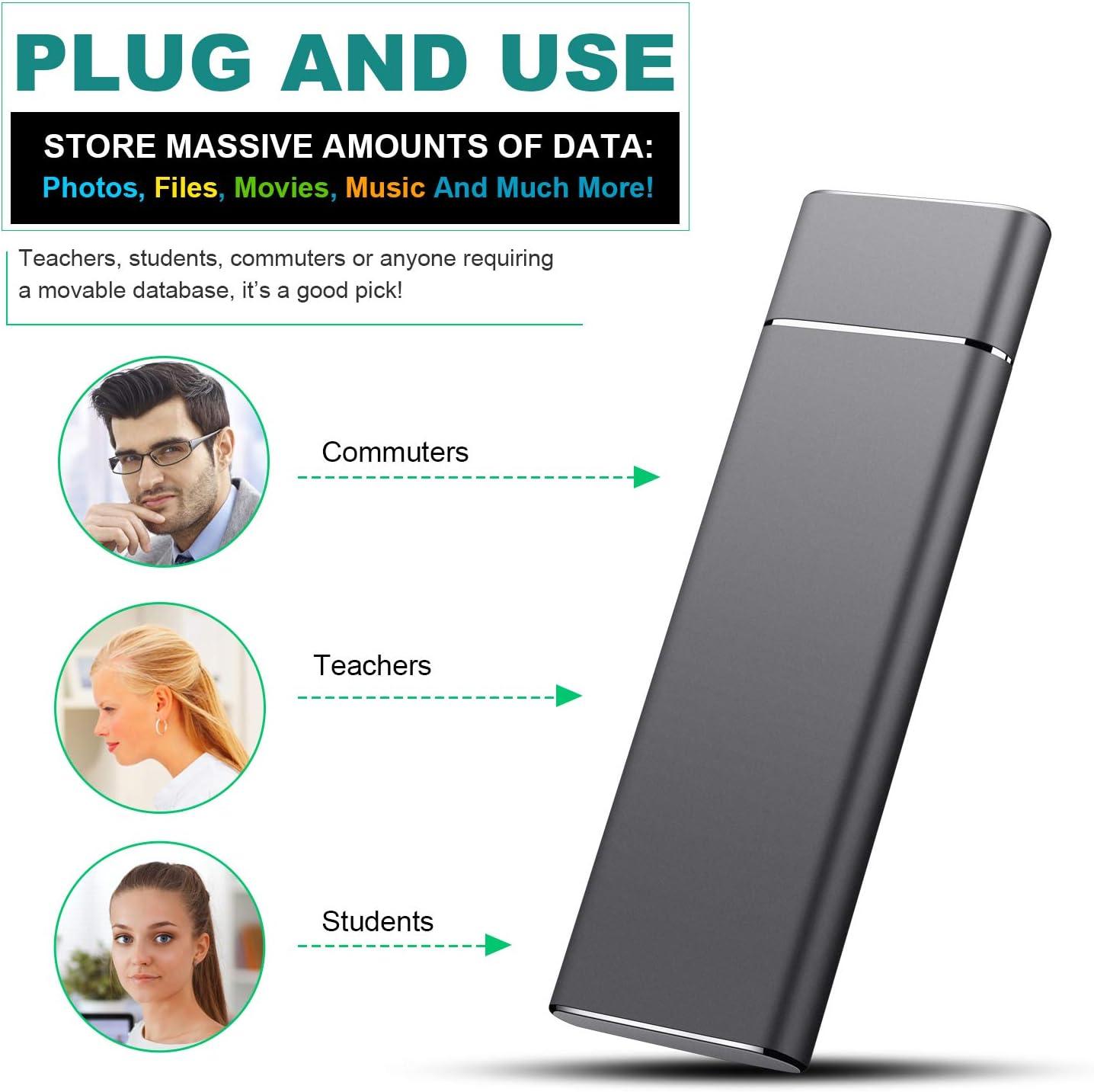 PC Xbox one Type-C USB 3.1 Gen1 Ultra Slim Portable HDD for Mac External Hard Drive 2TB Portable Hard Drive Desktop 2TB, Silver