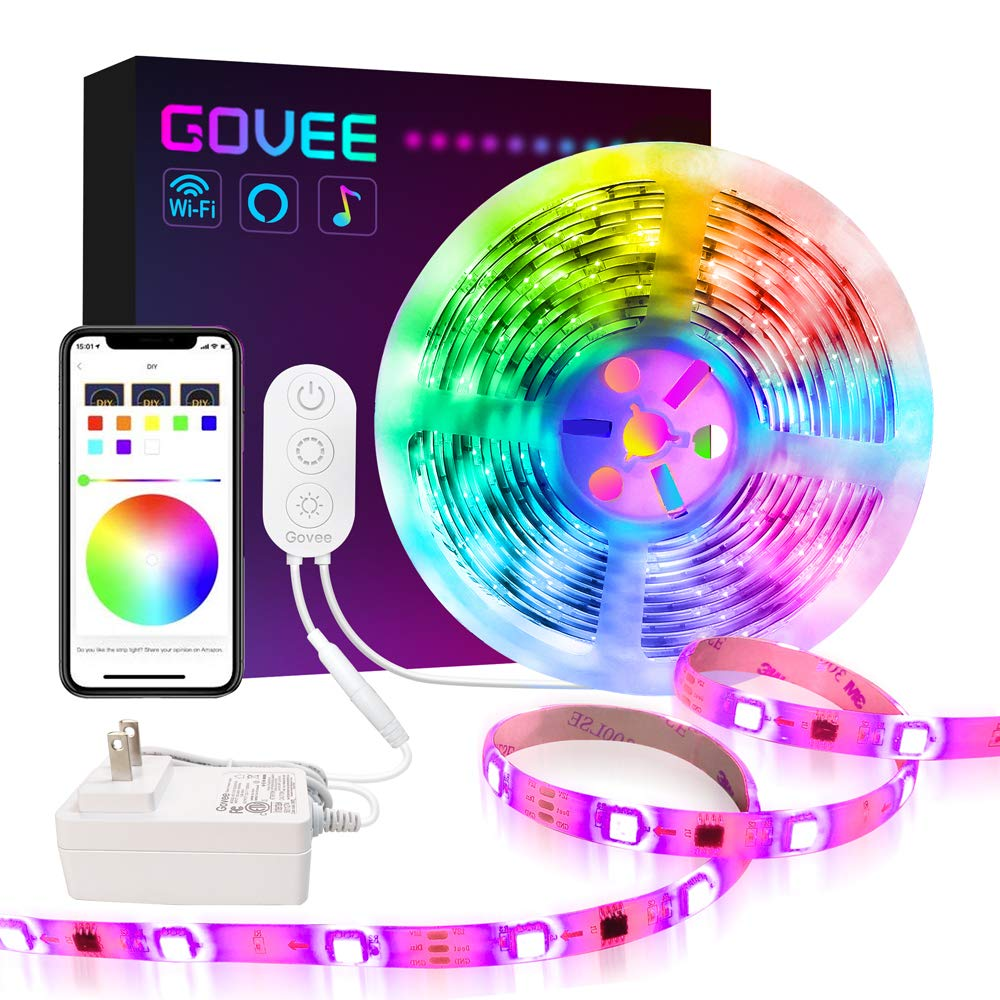 Govee Dreamcolor Led Strip Lights Compatible with Alexa Google Home Music Sync Waterproof WiFi Wireless Phone Control…