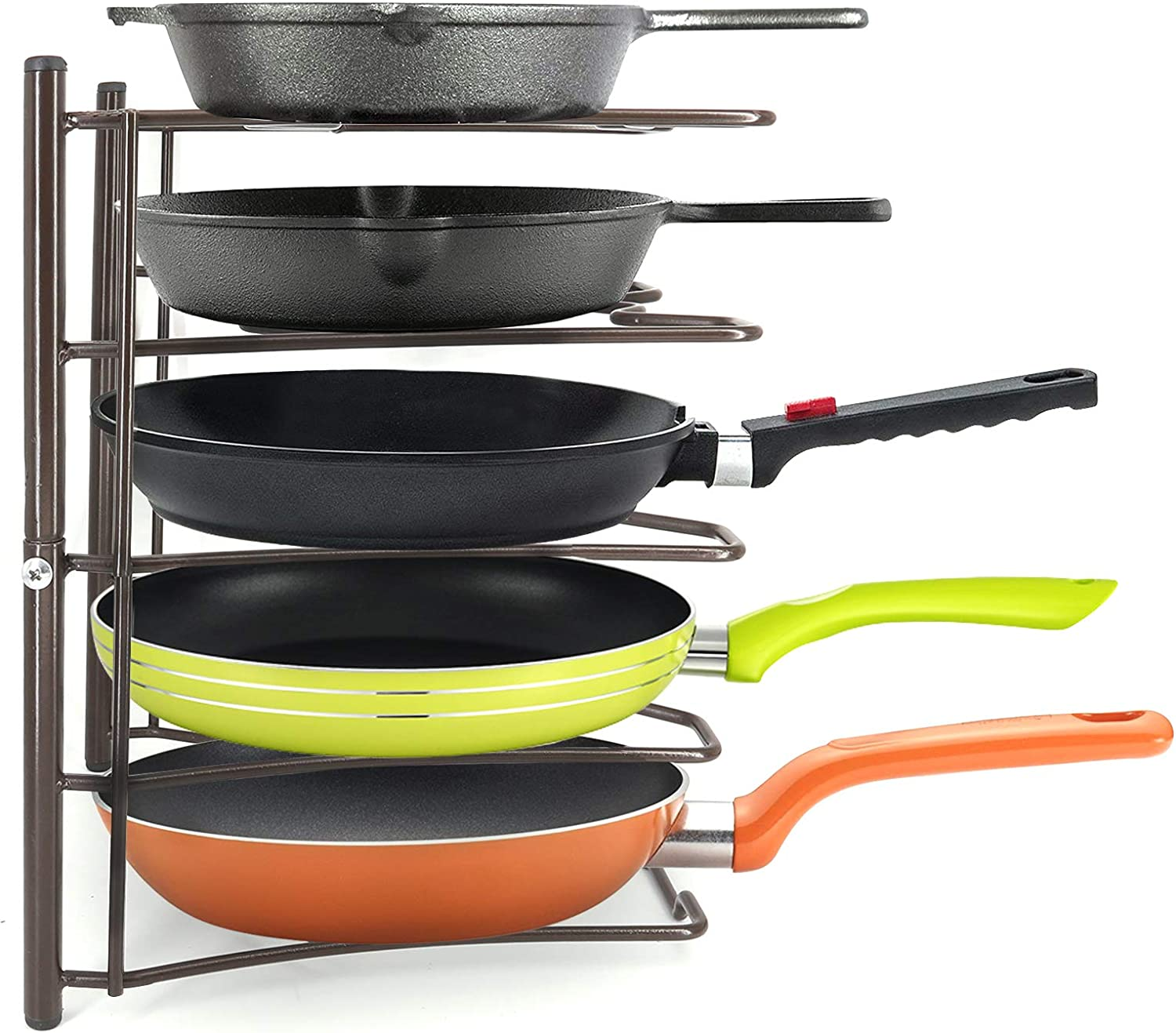 Kitchen Cabinet Cookware Organizer Rack Lid Hodlder for Pans, Pots, Lids and Cast Iron,Vertical or Horizontal Placement, Bronze(Assembly Required)