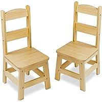 Melissa & Doug Sillas de madera sólida, sillas para niños, muebles deun ligero acabado para la habitación de juegos, construcción duradera, juego de 2, 71.12 cm alto x 38.608 cm ancho x 10.16 cm largo