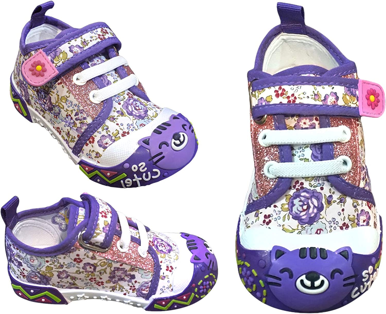 Assorted Colors Christmas Time Alice Cute Kitty Cat Bumper Toe Sneaker for Toddlers Little Girls
