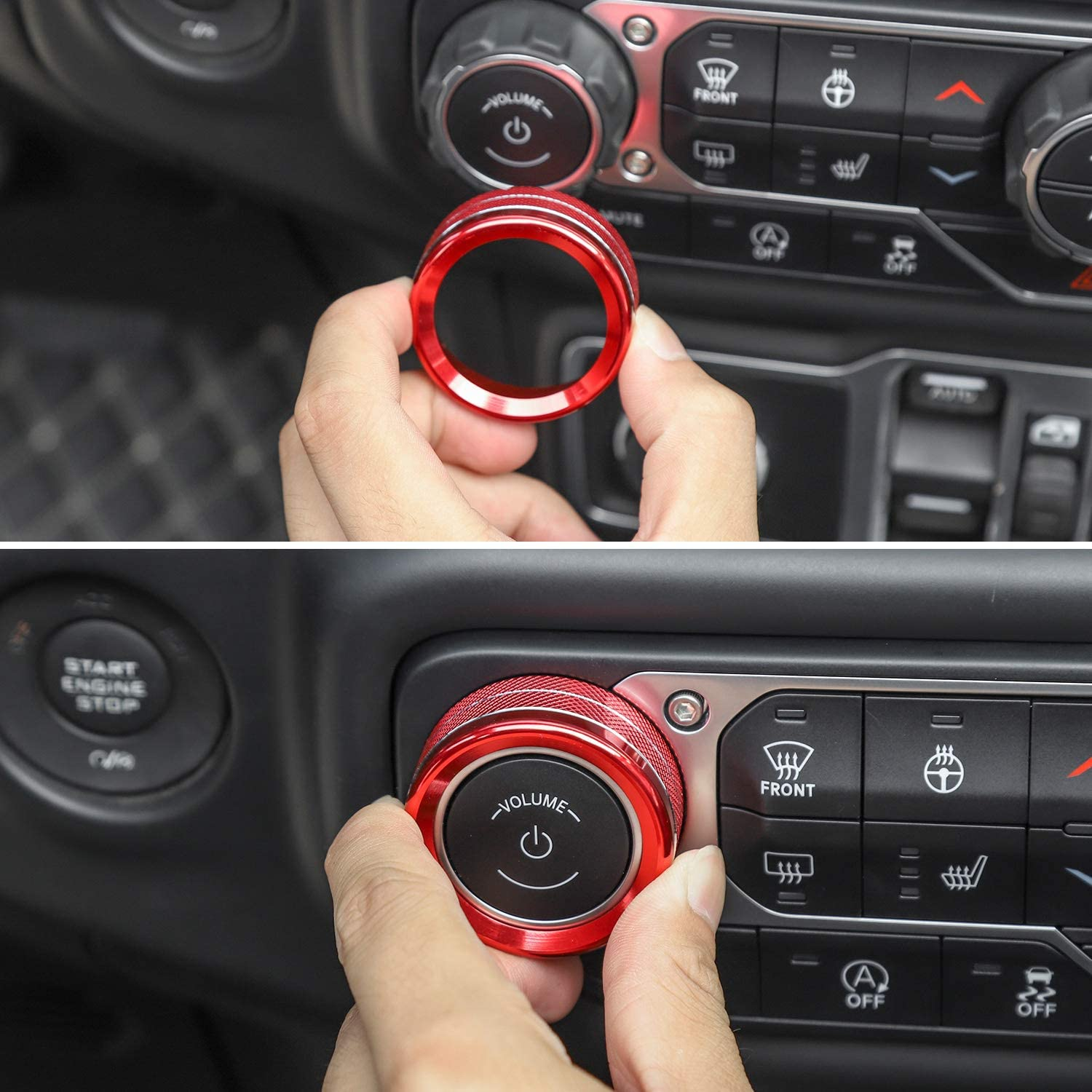 Red JeCar Air Conditioner Switch Knob Cover Aluminum Alloy Trim Cover for 2018-2020 Jeep Wrangler JL JLU /& 2020 Jeep Gladiators JT