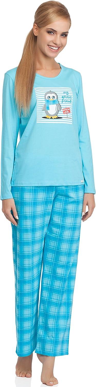 Cornette Pijama Conjunto Camiseta y Pantalones Ropa de Casa Mujer CR-655-Arctic Friend