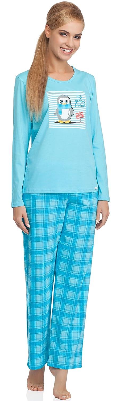 TALLA S. Cornette Pijama Conjunto Camiseta y Pantalones Ropa de Casa Mujer CR-655-Arctic Friend
