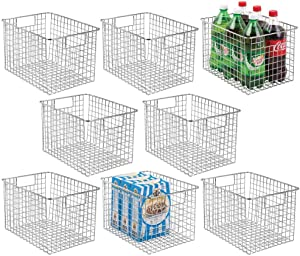 "mDesign Farmhouse Decor Metal Wire Food Storage Organizer, Bin Basket with Handles for Kitchen Cabinets, Pantry, Bathroom, Laundry Room, Closets, Garage, 12"" x 9"" x 8"" - 8 Pack - Chrome"