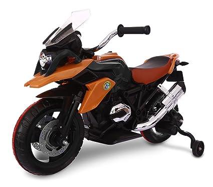 LT 873 Moto de carreras para niños Flower eléctrica 12V con luces LED en ruedas (Naranja): Amazon.es: Juguetes y juegos