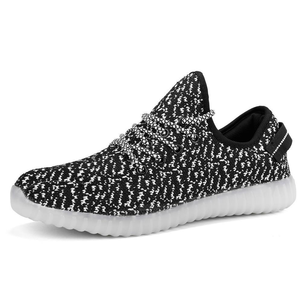 TZTONE Light up Sneakers Sound Contol USB Rechargeable LED Shoes for Men Women LNSCDYZ B075QH332V EU 40/9 B(M) US Women = 7.5 D(M) US Men|Black01