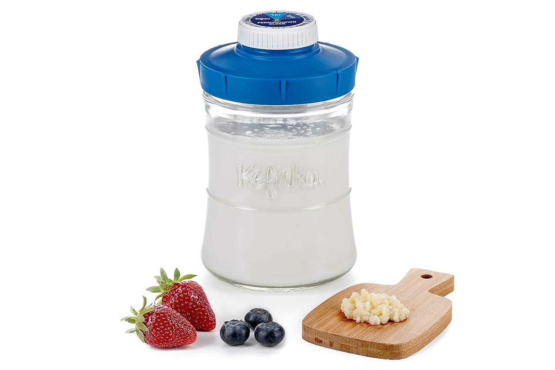 G/ärflasche 848 ml mit blauem Deckel zum Aufbewahren und Trinken von Milch und Wasser Kefir 2