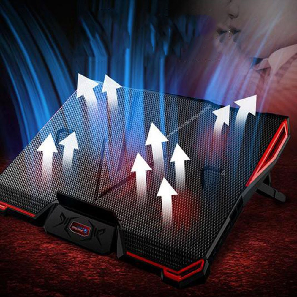 Cooling Pads LDFN Gaming Laptop Cooler 18-20 In Portable Ultra-Slim 5 Quiet Fans Laptop With LCD Screen Adjustable Height And Speed,Black-4129.22.9cm by Cooling Pads (Image #6)