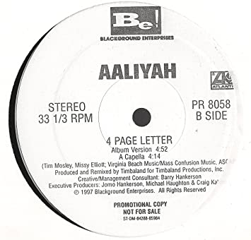 Aaliyah 4 Page Letter 12 Amazon Com Music