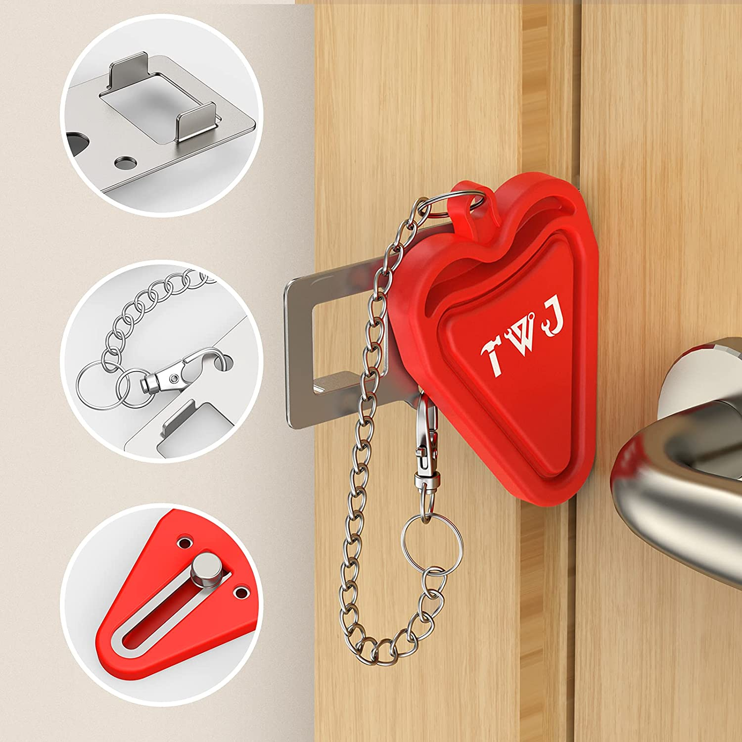 Security Portable Door Lock Latch, TWJ Upgrade 2 Holes Removable Door Latch Lock for Travel Safety and Personal Protection - No Drill Manual Lock Door Jammer Home Hotel Room Devices for Add Security