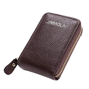 Women/' and Men/'s Color Wallet Leather Credit Card Holder Blocking Zipper Pock GB