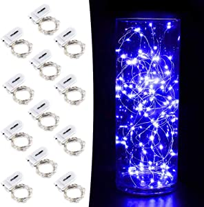CYLAPEX 12 Pack Blue Fairy String Lights Battery Operated Fairy Lights Starry String Lights on 3.3ft/1m Silvery Copper Wire DIY Christmas Decoration Costume Wedding Party Halloween Easter