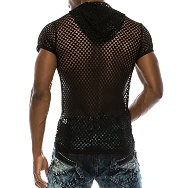 7acd291badf3 Mens T Shirts with Hoodie Fashion Men Casual Mesh Shirts Short Sleeve  Muscle T-Shirt
