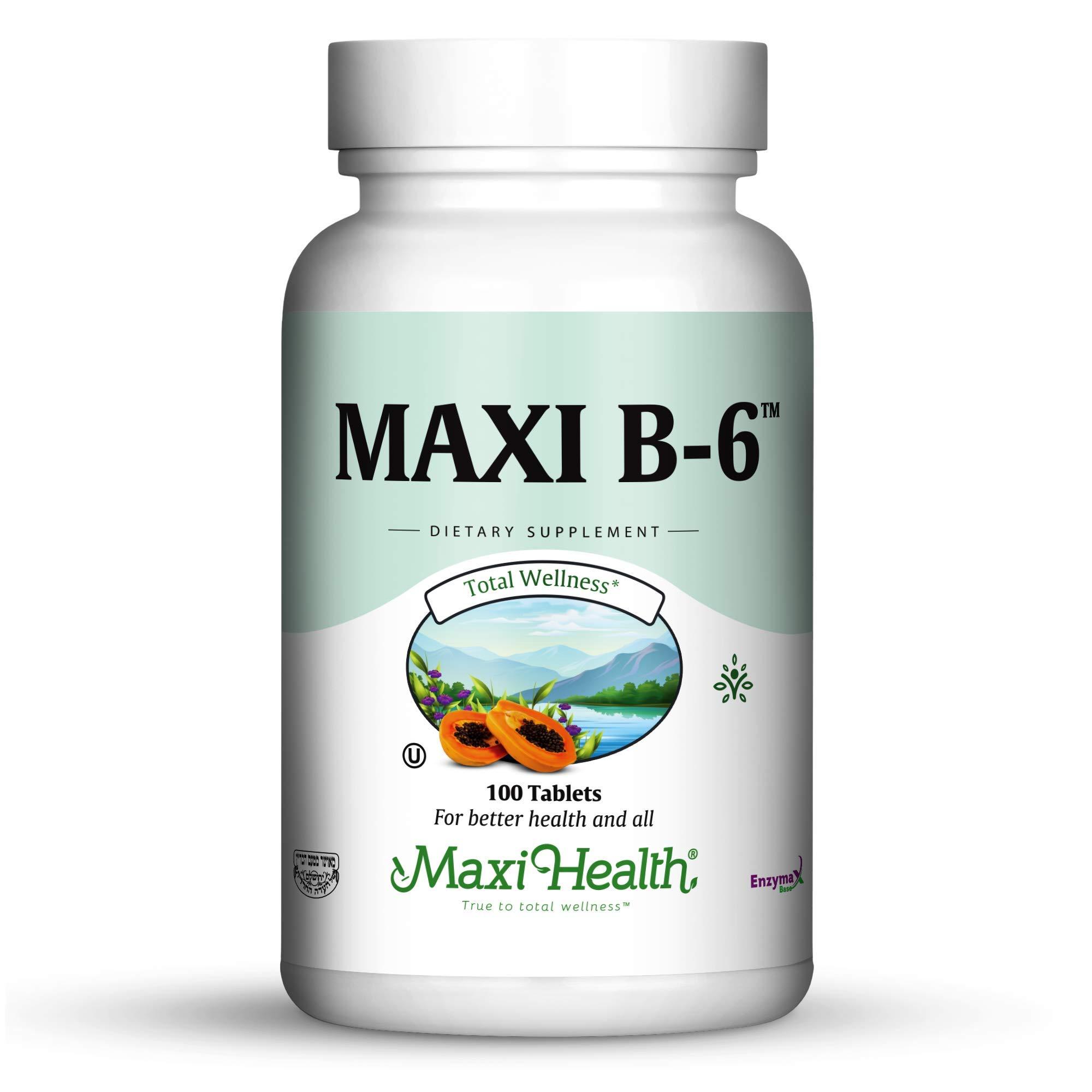 Maxi Health B-6 - Vitamin B6 -''100 mg'' - Cardiovascular Health - 100 Tablets - Kosher (Pack of 2)