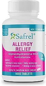 Safrel Allergy Relief Medicine | Antihistamine Diphenhydramine HCl 25 mg (1000