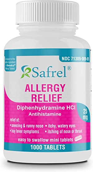 Safrel Allergy Relief Medicine | Antihistamine Diphenhydramine HCl 25 mg (1000 Tablets) Value Pack | Children and Adults | Relieves Sneezing, Runny Nose, Hay Fever Symptoms, Itcy Eyes and Throat