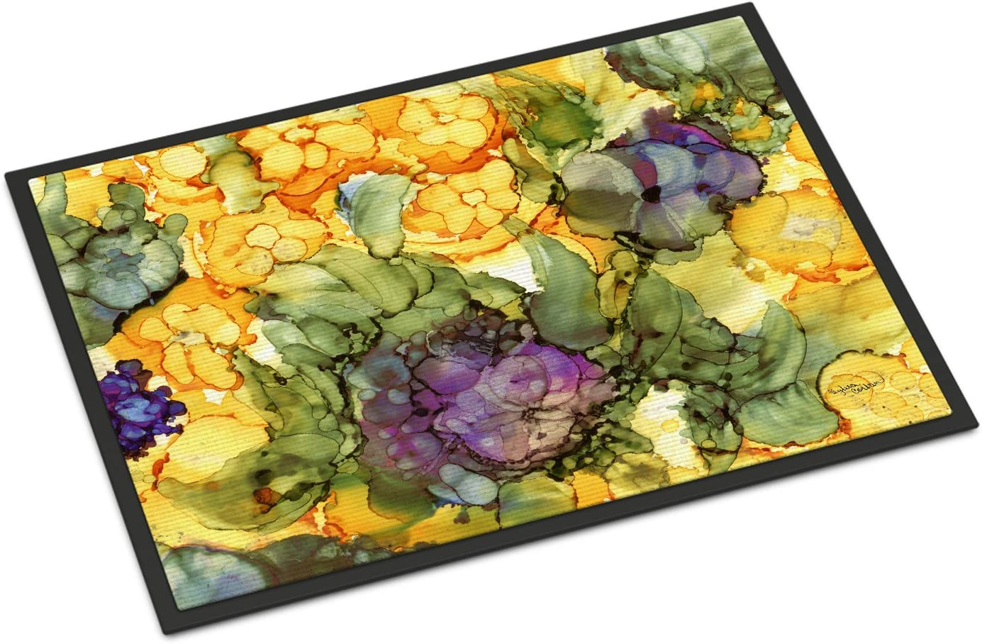 Caroline s Treasures 8958MAT Abstract Flowers Purple and Yellow Indoor or Outdoor Mat 18×27, 18H X 27W, Multicolor