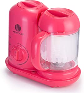 Ventray BabyGrow 100 Pink - All-in-one Blender and Steamer Baby Food Maker Processor - for Infants and Toddlers foo