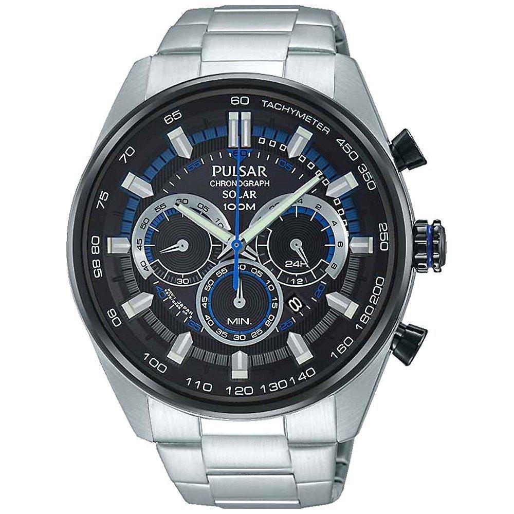 Pulsar Gents Solar Chronograph, Water-resistant Watch, Silver Bracelet