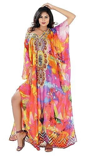 a252076a9aa Amazon.com  Varied color Beautiful womans one piece jewelled full length  resort wear beach coverup kaftan dress gorgeous silk kaftan evening maxi  gown  ...
