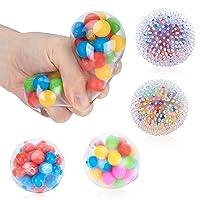 Sensory Stress Ball Set, 4 Pack Stress Relief Fidget Balls for Kids Adults - Best Gifts
