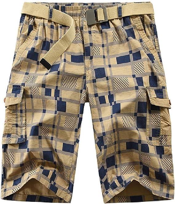 VITryst Men Multi Pockets Mid Waist Classic Plaid Drawstring Airsoft Pants
