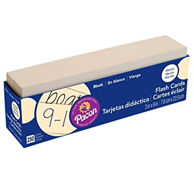 "Pacon PAC74100 Blank Flash Cards, 3"" x 9"", Manila, Pack of 250: Office Products"