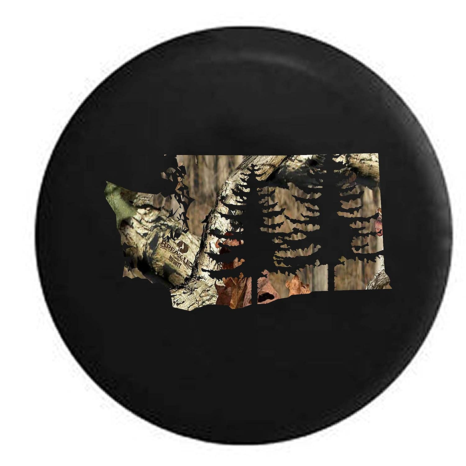 Pike Stealth Washington Pine Trees Home State Edition RV Spare Tire Cover OEM Vinyl Black 27.5 in Pike Outdoors