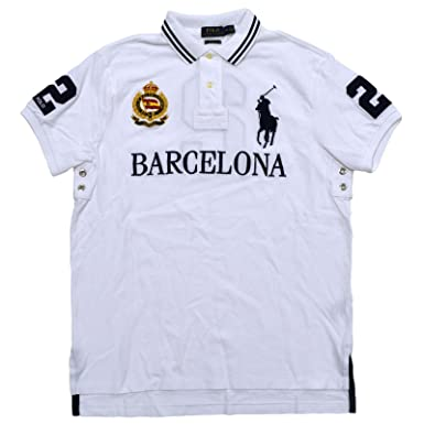 40c64c23fd039 Polo Ralph Lauren Mens Big Pony City Custom Fit Mesh Polo Shirt (Small,  White