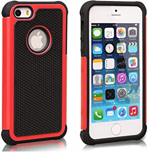 AGRIGLE AB669656 Shock- Absorption/High Impact Resistant Hybrid Dual Layer Armor Defender Full Body Protective Cover Case Compatible with iPhone 5/5S/SE (Black Red)